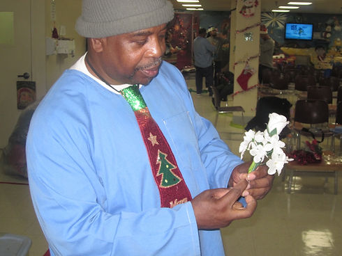 Blameless and Forever Free Ministries and Folsom State Prison inmate making Miss Tammy a flower ornament