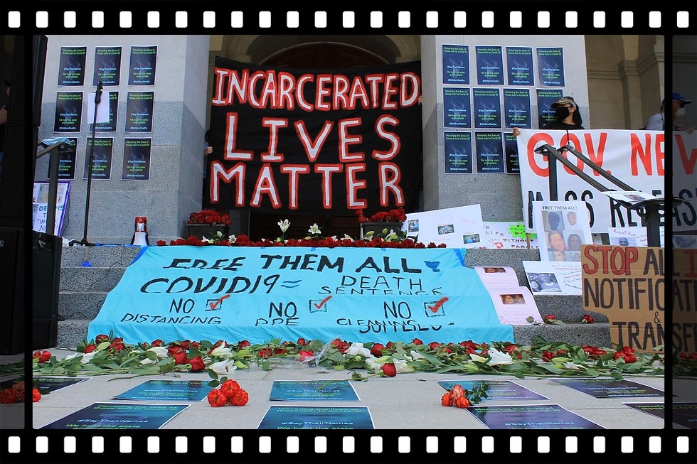 Blameless and Forever Free Ministries rallying for Governor Newsom to release incarcerated beloveds due to COVID-19 and its rapid spread causing death due to misconduct on the part of CDCR's transfer of infected inmates at the Say Their Name campaign!  Incarcerated Lives Matter!