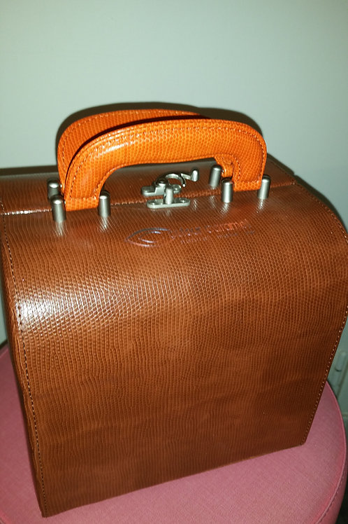 BEAUTY CASE MARRON POIGNEE ORANGE Couleur Caramel