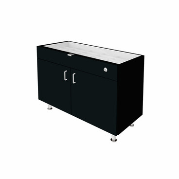 Single Small Glasstop DW Cabinet - Black