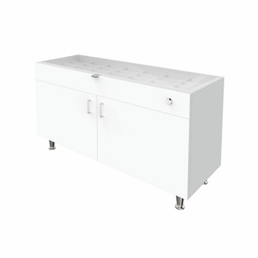 Single Large Glasstop DW Cabinet - White
