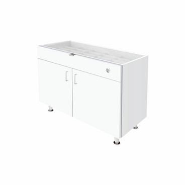 Single Small Glasstop DW Cabinet - White