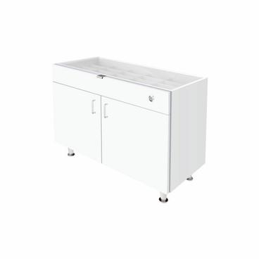 Single Small Glasstop DW Cabinet - White