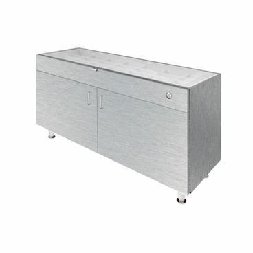 Single Large Glasstop DW Cabinet - Silver