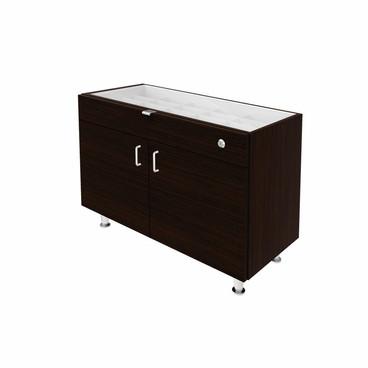 Single Small Glasstop DW Cabinet -Walnut