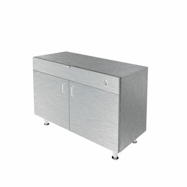 Single Small DW Cabinet - Brushed Silver