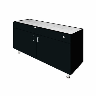Single Large Glasstop DW Cabinet - Black