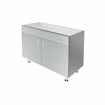 Single Small Glasstop DW Cabinet - Silver