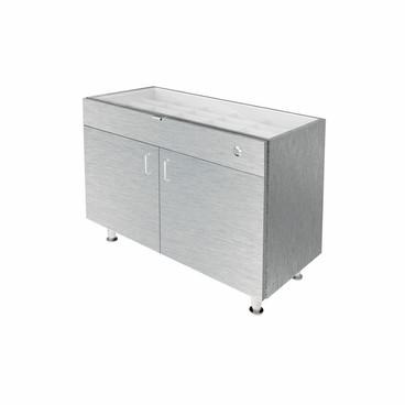 Single Small Glasstop DW Cabinet - Silver
