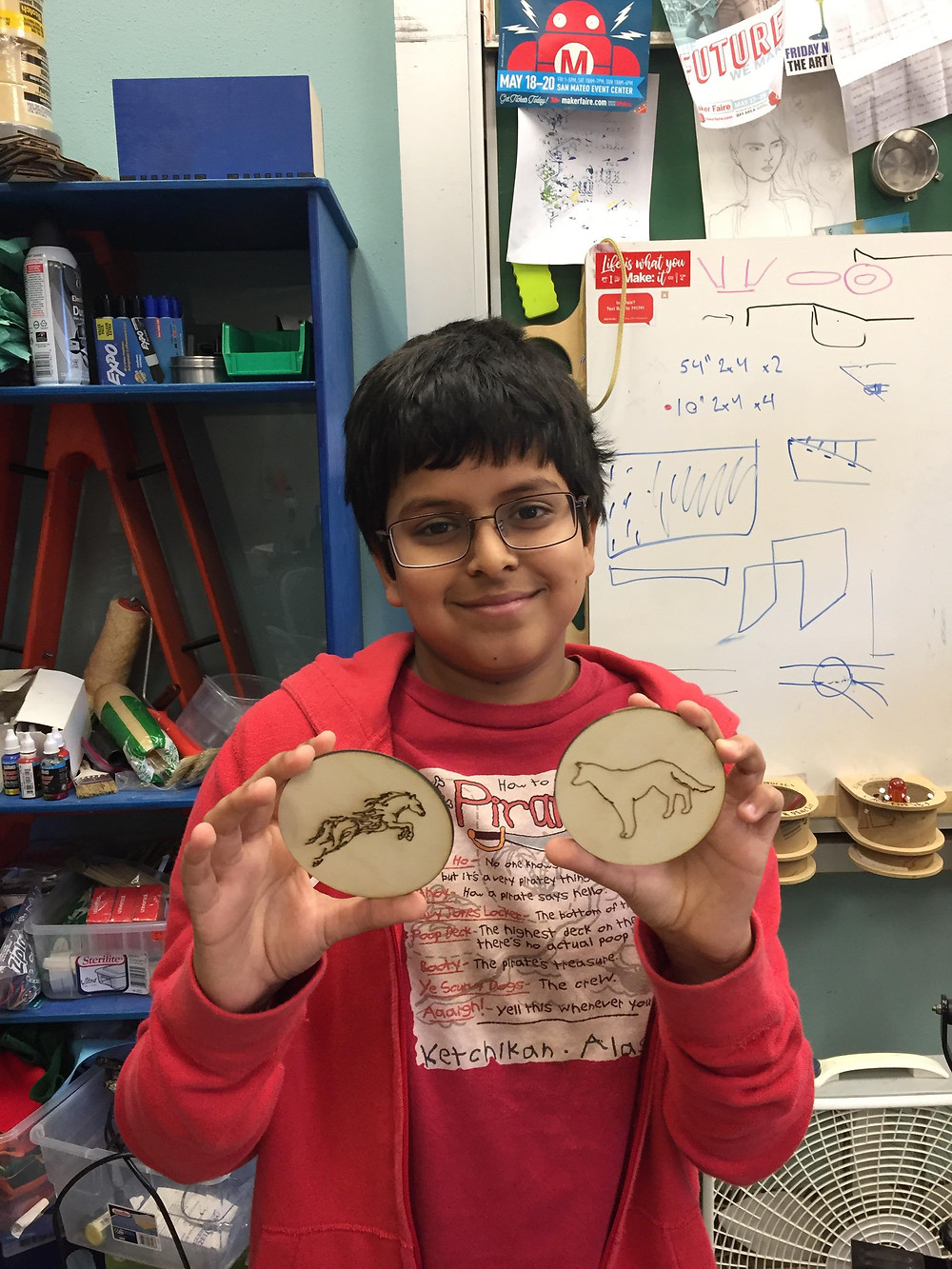 """This Saturday, Siddh came into MakeX looking to make coasters for his mother. """"I put dogs and horses using the laser cutter and then wrapped it to make look nice"""". Siddh is a seventh grader art JLS and comes here regularly to make things. """"My favorite thing to do here is design stuff and use the laser cutter. I come here because I like making fire stuff"""". Please come back week to see other makers and their cool projects. Happy New Year - the MakeX Team"""