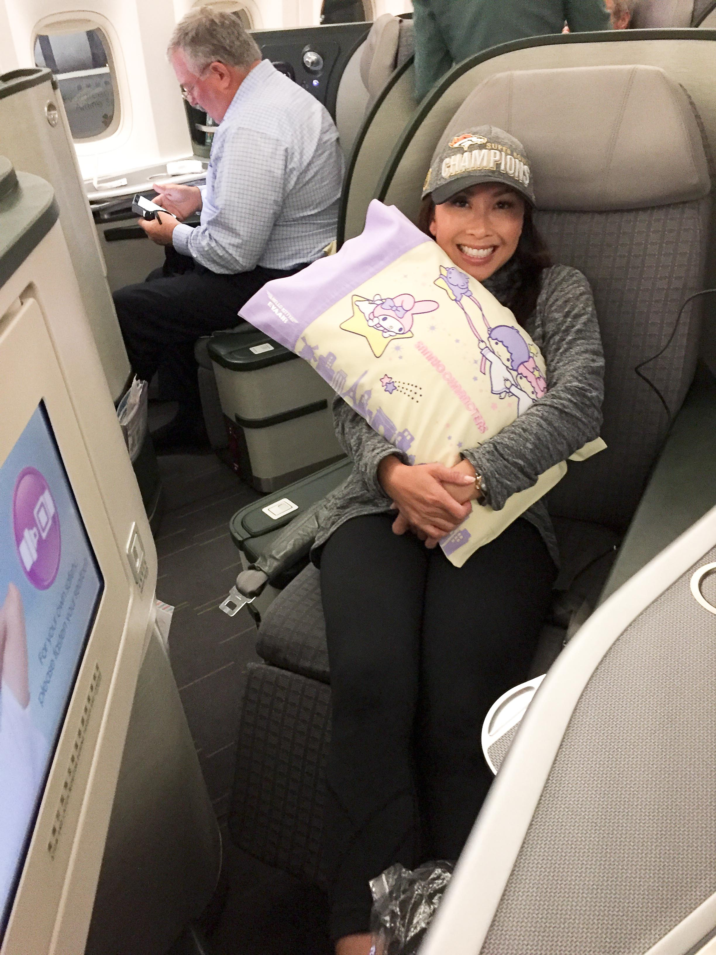 The author on board EVA Air