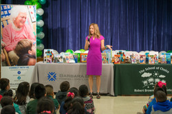 Julie Baker Finck speaks to students at Browning Elementary