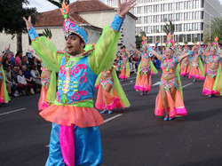 Clown Dancers in Carnival Parade in Santa Cruz de Tenerife