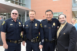 HPD Captain Greg Fremin, HPD Assistant Police Chief George Buenik, HPD Chief Art Acevedo, Lee Vela