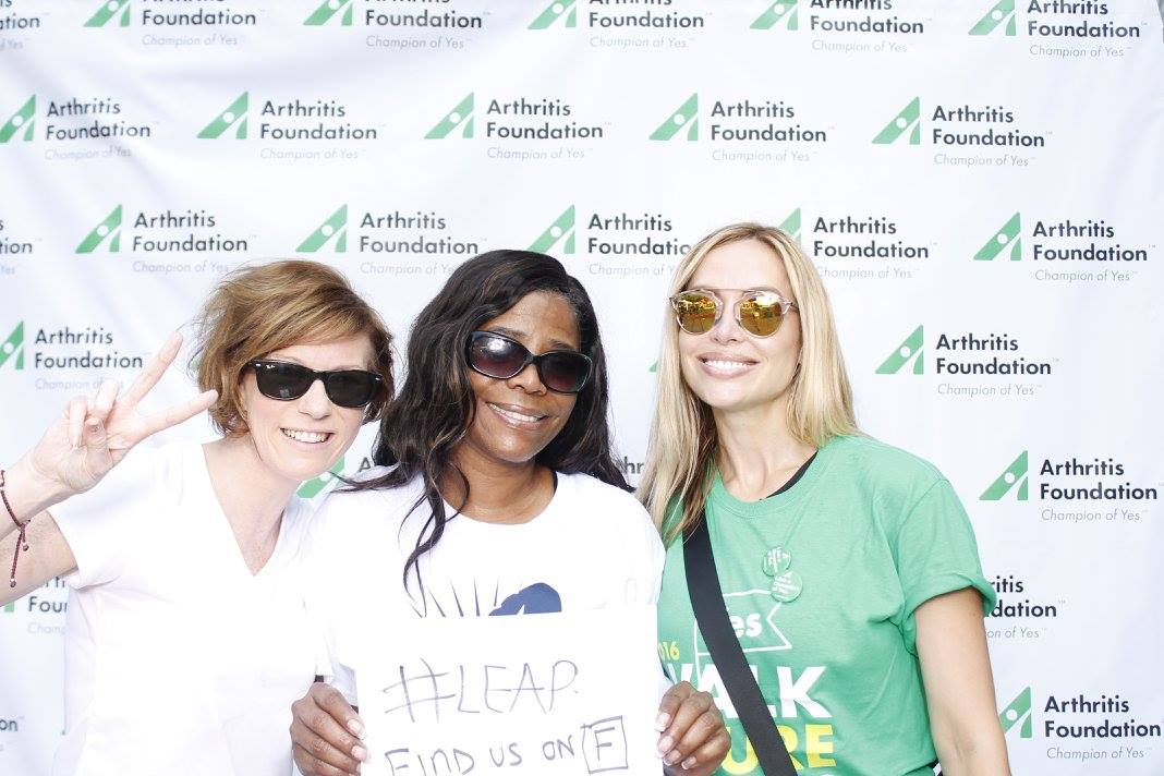 LEAP Founder Christine Kearns with walk for cure team LEAP members and Darian Ward & Natasha Piper