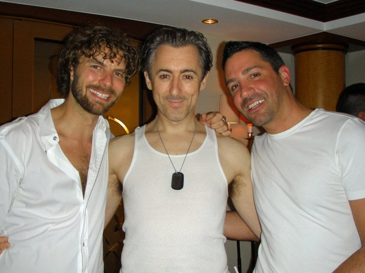 With Broadway Alan Cumming (center), of _Cabaret_ fame, and his musical director and pianist