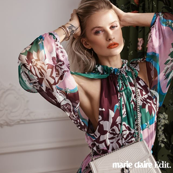 Marie Claire Edit featuring 'Bloom' Print design in the background