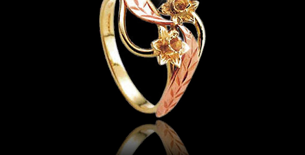 Cymru Gold Double Daffodil Ring in Rose and Yellow Gold 9ct WD35