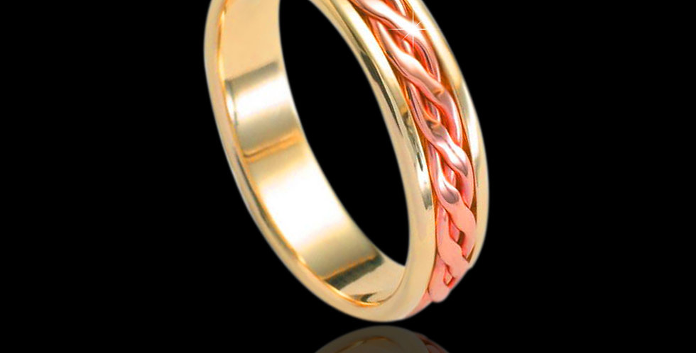Celtic Plait Inlaid Wedding Band Cymru Welsh Rose and Yellow Gold 18ct WR1838