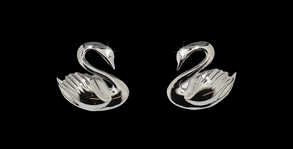 Swansea City AFC Rhodium Plated Silver Swan Stud Earrings