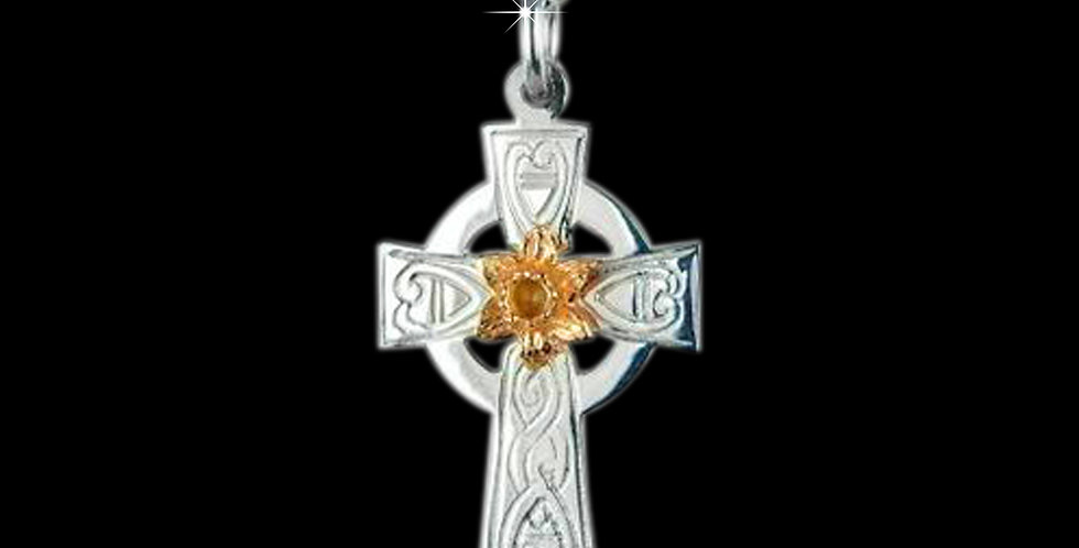 Silver Celtic Cross with Cymru Gold Yellow Gold Daffodil SWP15