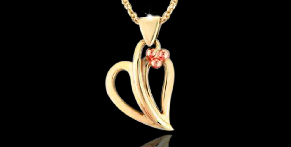 Cymru Gold Tree of Life Open Leaf Pendant in Yellow and Rose Gold 9ct WP30
