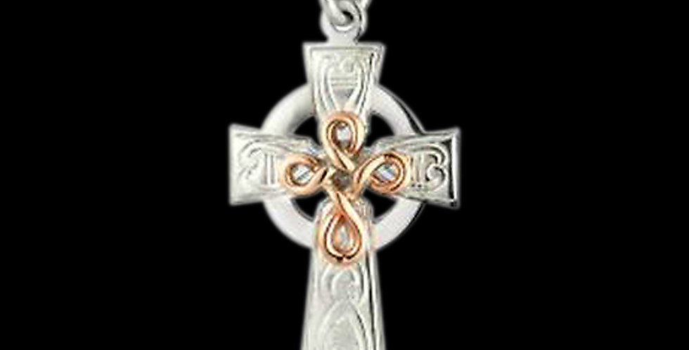 Silver Celtic Knot Cross with Cymru Welsh Rose Gold Celtic Knot SWP19