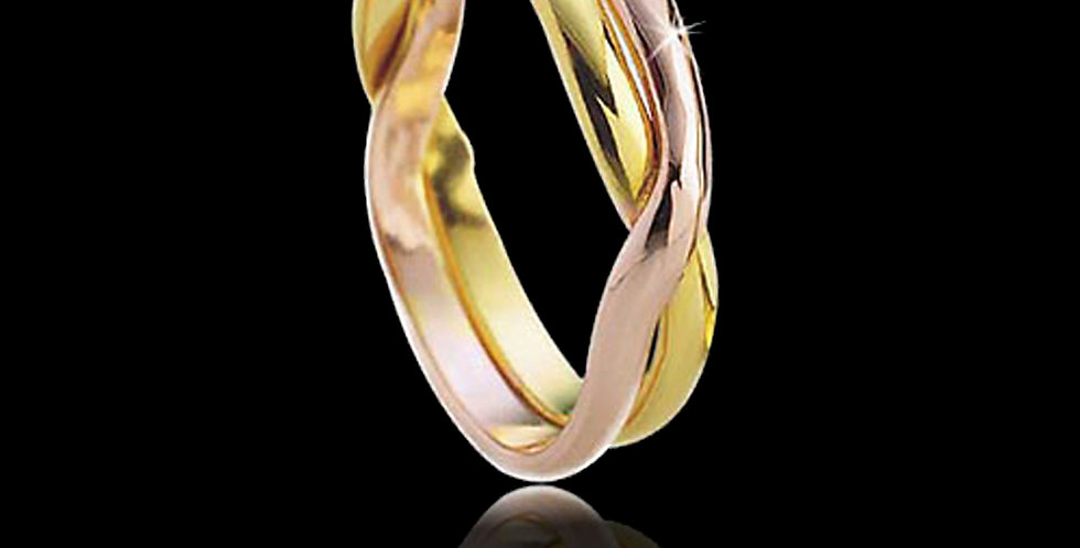 Lovers Kiss  Welsh Gold Celtic Wedding Ring  Rose and Yellow Gold 18ct