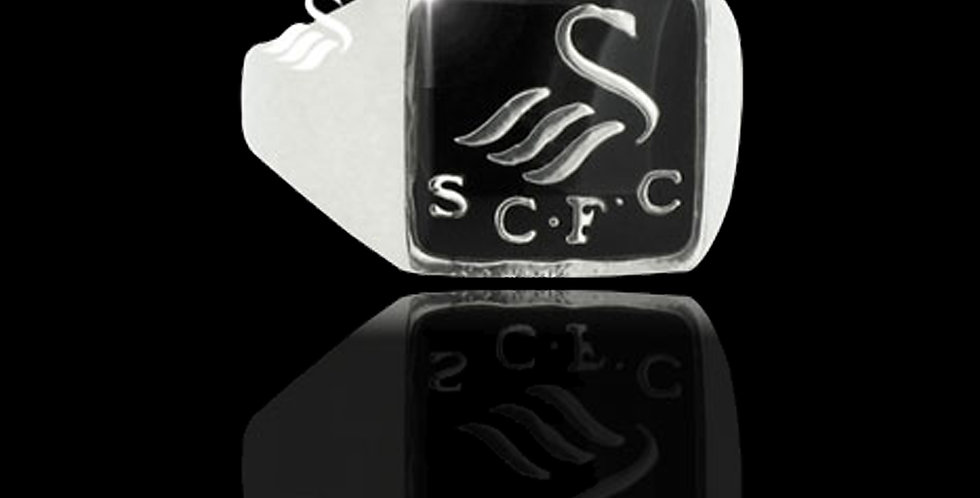 Swansea City AFC  Silver Enamel Square Gents Ring