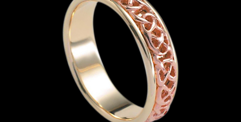 Never-ending Celtic Knot Wedding Band Cymru Welsh Rose and Yellow Gold 9ct WR188