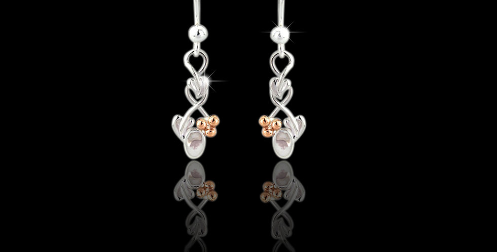 Cumru Gold Tree of Life Lovespoon Earrings in Silver and Rose Gold SWE96