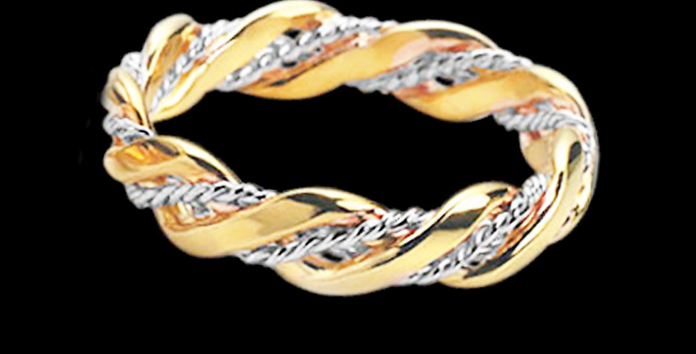 Thread of Life  Welsh Gold Celtic Wedding Ring White and Yellow Gold  9ct
