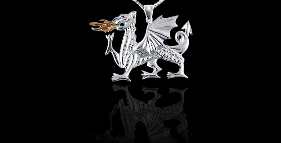 Medium Fiery Welsh Dragon Pendant Silver and Rose Gold SWP57