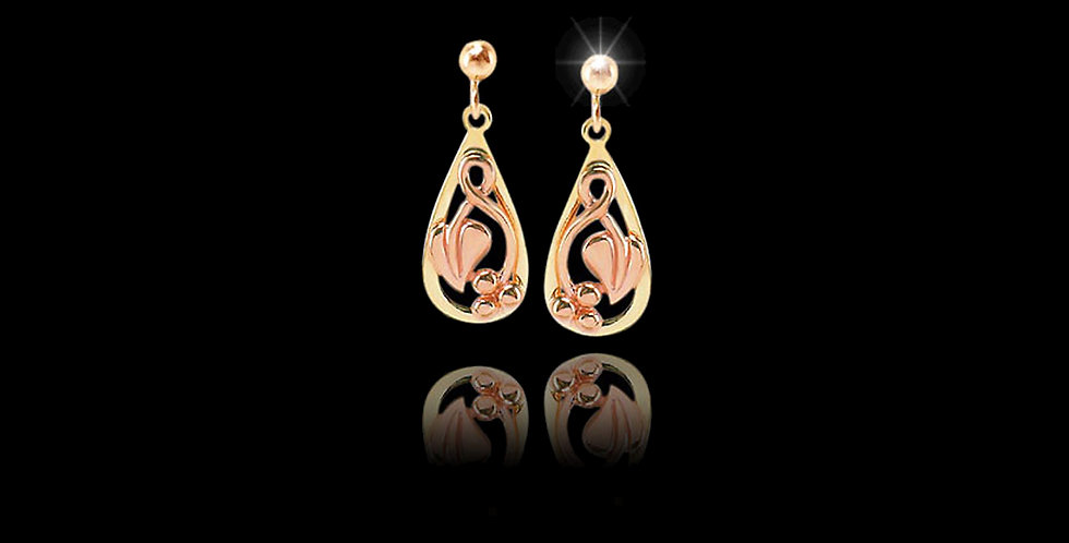 Cymru Gold Tree of Life Teardrop Earrings Rose and Yellow Gold 9ct WDS345