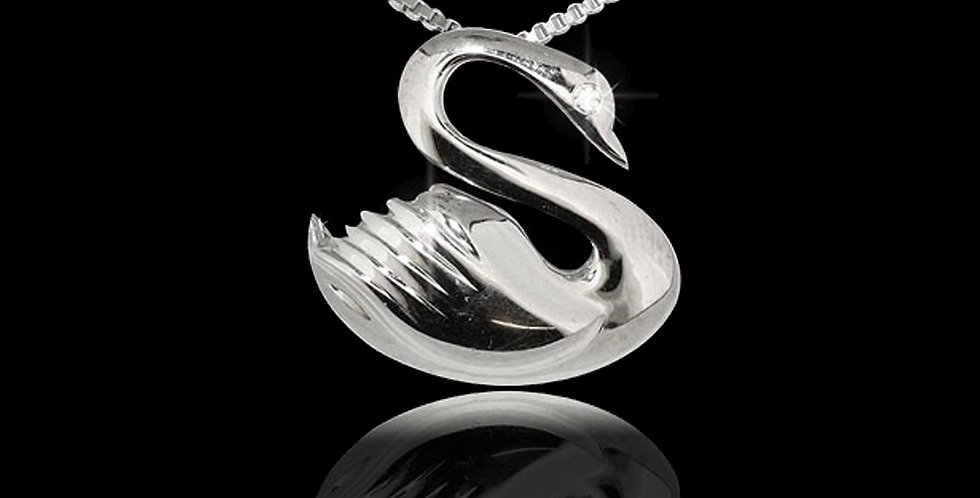 Swansea City AFC Swan Pendant Rhodium Plated Silver