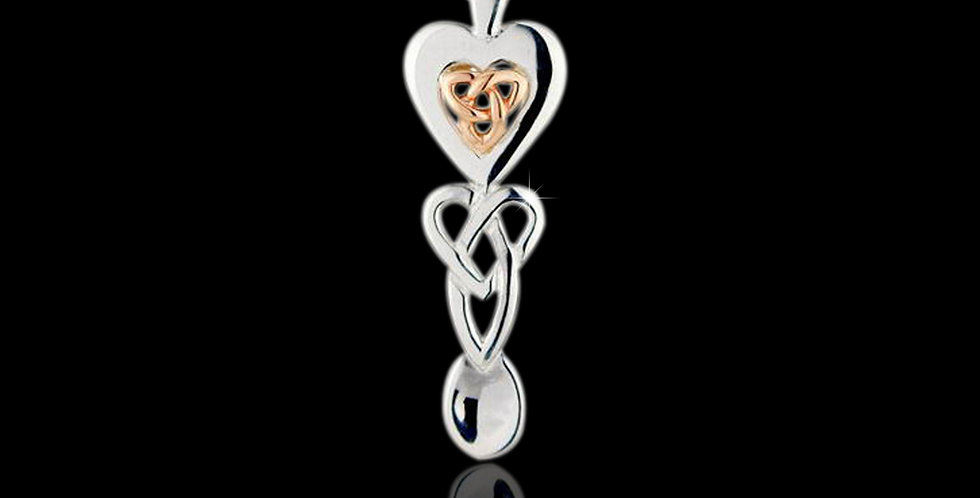 Cymru Gold Silver Celtic Triqetra Lovespoon with Rose Gold SWP18