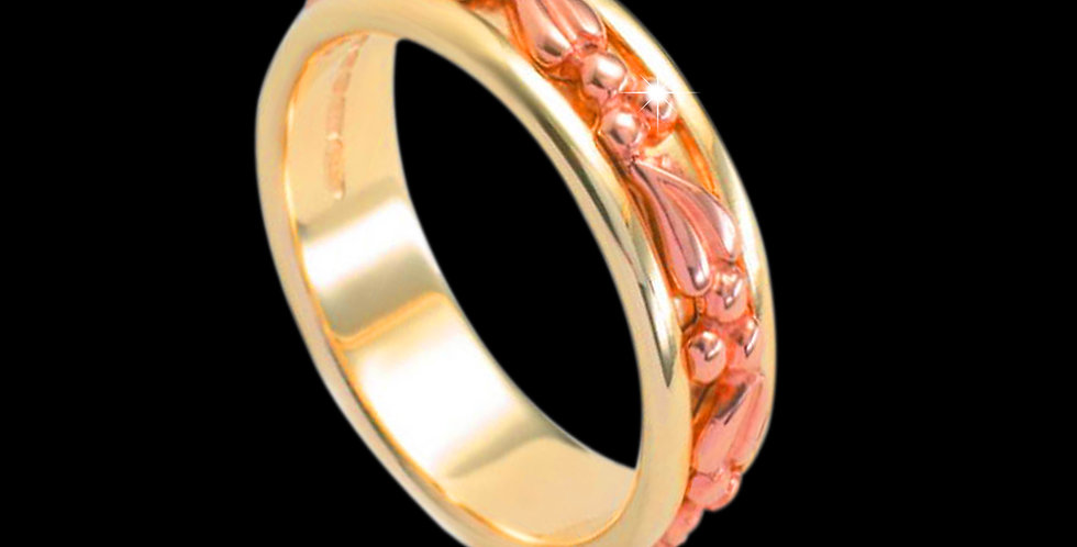 Tree of Life Inlaid Wedding Band Cymru Rose and Yellow Gold 18ct WR1268