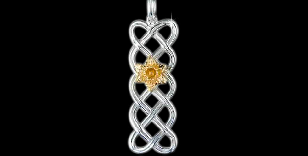 Silver Celtic Panel Pendant with Cymru Welsh Yellow Gold Daffodil SWP100