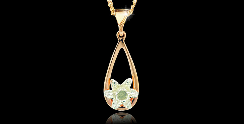 Daffodil Tear Drop Pendant White and Yellow gold 9ct WDMP10-W