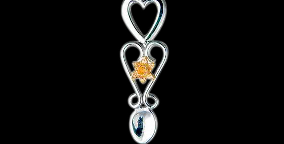 Daffodil Lovespoon Pendant in Silver and Yellow Gold SWP4