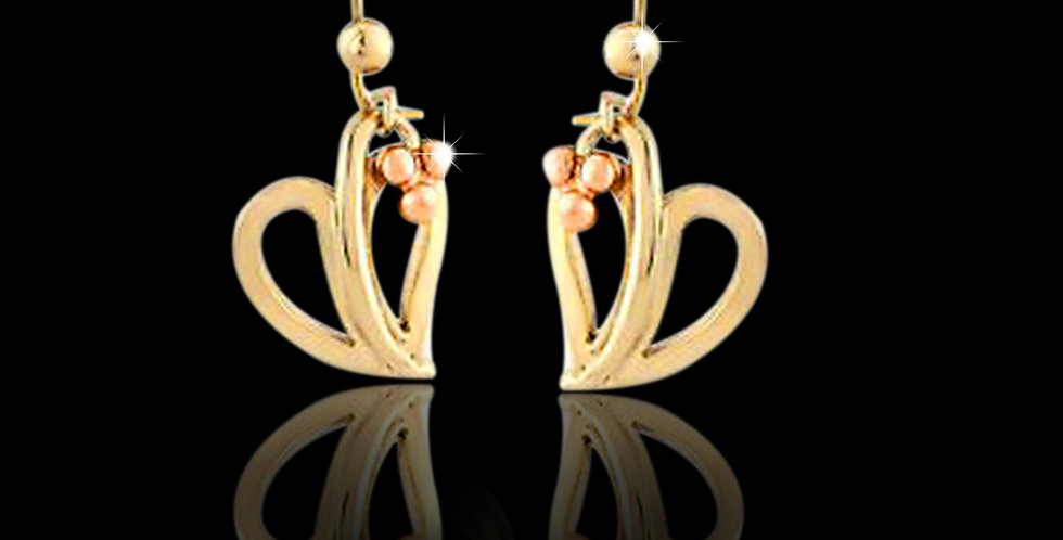 Cymru Gold Open Leaf & Berry Drop Earrings Yellow and Rose Gold 9ct WE30