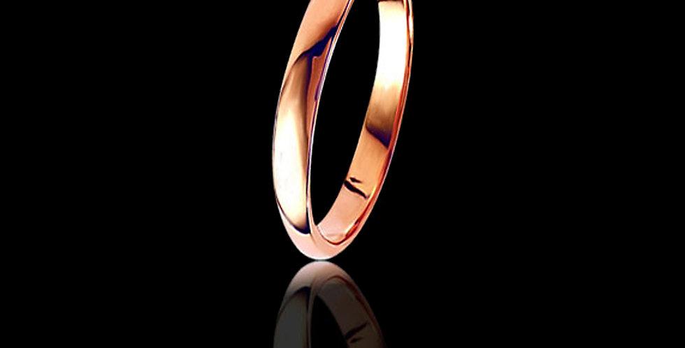 3 mm Rose gold wedding ring D shaped