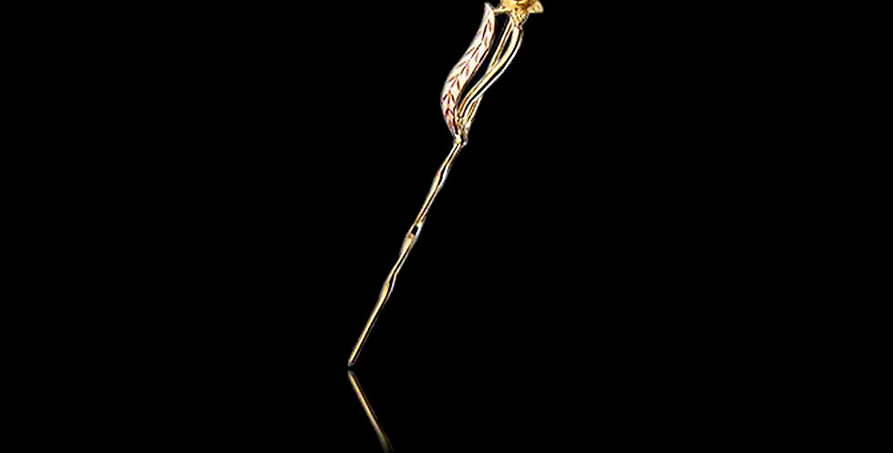 Daffodil Stick Pin Tie Pin Rose and Yellow Gold 9ct WSP3