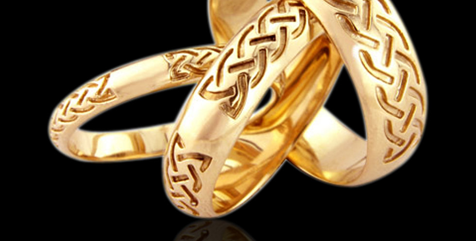 Celtic Wedding Band Yellow Gold 9ct