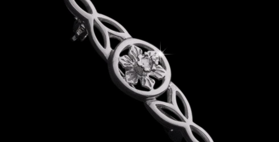 Welsh Design Celtic Daffodil Brooch Stirling Silver LBRO090175