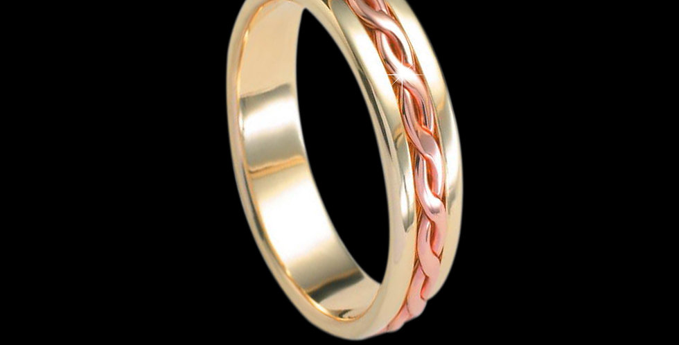 Entwined Lives Inlaid Wedding Band Cymru Welsh Rose and Yellow Gold 9ct WR182