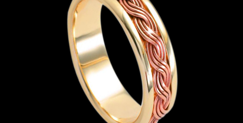 Woven Lives Inlaid Wedding Band Cymru Welsh Rose and Yellow Gold 9ct WR184