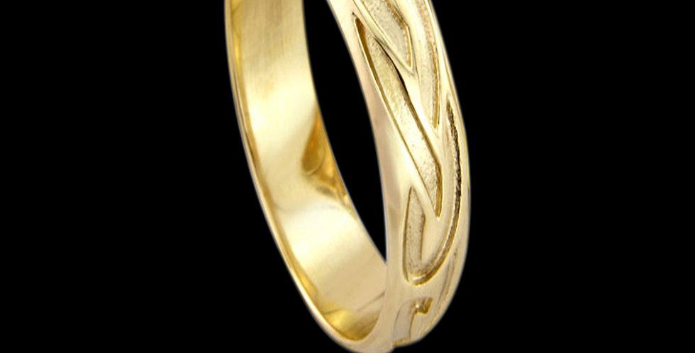 Celtic Runes Wedding Ring 9ct Yellow Gold