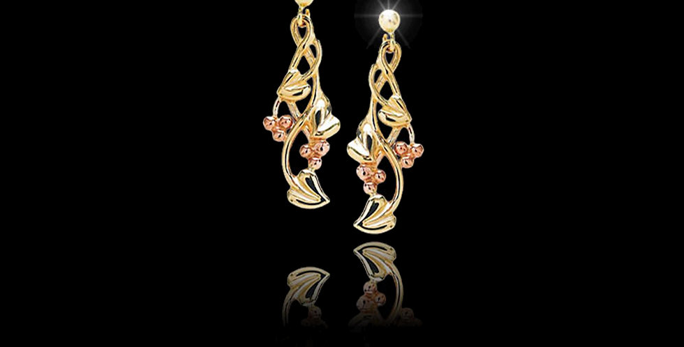 Cymru Gold Tree of Life Earrings in Yellow and Rose Gold 9ct WE24