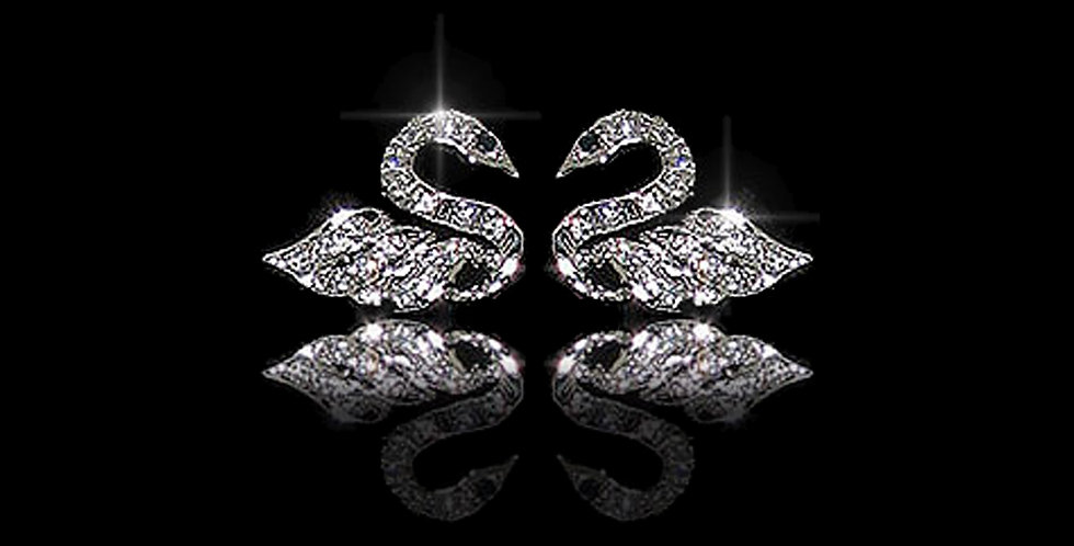 Swansea City AFC Silver CZ Earrings
